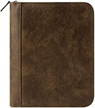 FranklinCovey Classic FC Basics Distressed Simulated Leather Zipper Binder - Brown
