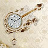 VariWallClock Wall Clocks Wanduhr mit Glockenmotiv Pendel Europäischer Stil Luxus Moderne Kreative und Trendige Wanduhr für Geige La