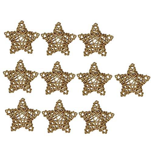 10 Piezas Estrella Natural Mimbre Bolas De Ratán Orbes Floreros De Bricolaje Artesanía, Decoración De Mesa De Boda, Fiesta Temática, Baby Shower, Acce - como se describe + como se describe, 8cm