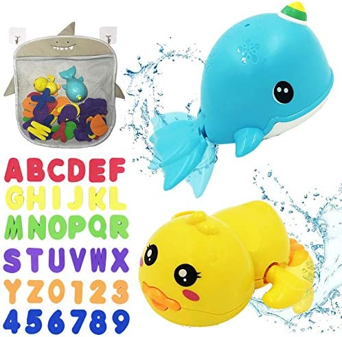 BITHAI 41PCS Bath Toys Organizer Set 2 Wind Up Bath Toys 36 Soft Foam Letter Numbers 2 Strong product image
