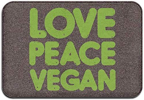 D-M-L 40X60CM Alfombra de Baño Antideslizante Absorbente Tapete del Piso Lavable a Máquina Love Peace Vegano