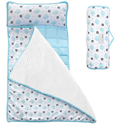 Moonsea Toddler Nap Mat with Removable Pillow and Fleece Minky Blanket, Lightweight and Soft Perfect for Kids Preschool, Daycare, Travel Sleeping Bag Boys Girls, Designed to Fit on a Standard Cot
