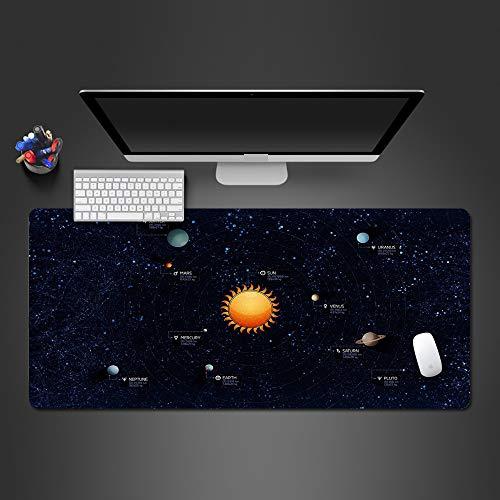 HONGHUAHUI Modern Mode Space Planet Mouse Pad Zwart Populair Natuurlijke Rubber Grote Tafel Pad Hoge Kwaliteit Art Gaming Mousepad, 900x300x2mm
