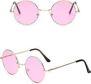 Hippie Sunglasses WITH CASE Retro Classic Circle Lens Round Sunglasses Steampunk Colored