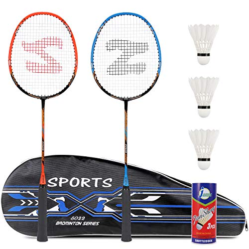 Fostoy Badminton Rackets, Badminton Sets for Backyards, Lightweight Carbon Fiber Badminton Racquets with 3 shuttlecocks and Carry Bag