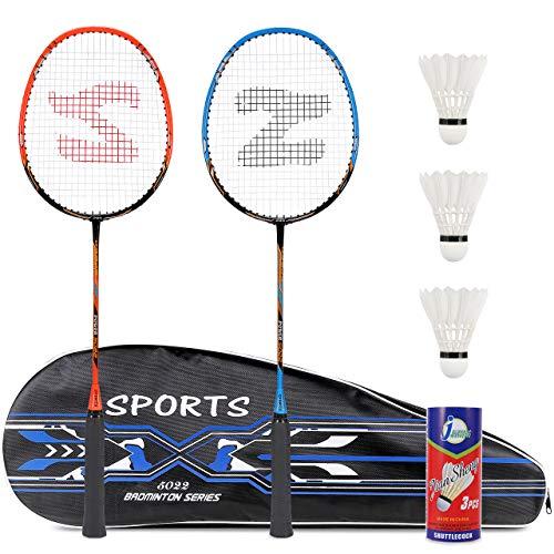 Fostoy Set di Racchette da Badminton, 2 Racchette da Badminton con 3 Volani e Borsa per Il Trasporto...