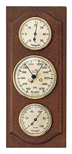SELVA Instrumento meteorológico – Estación meteorológica mecánica analógica – nogal – exterior – con termómetro, barómetro e higrómetro (dimensiones: 280 x 120 mm)