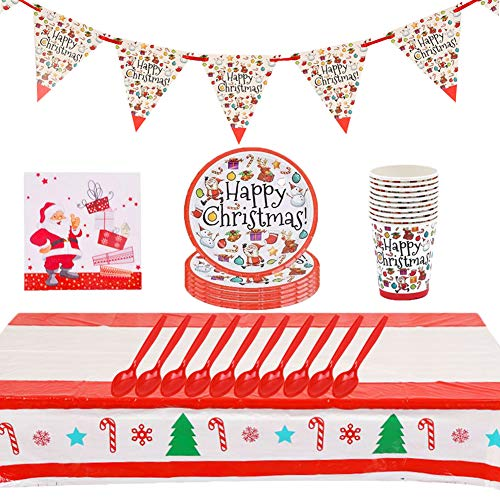 JAHEMU Christmas Stoviglie per Feste Natale Stoviglie Set Includere Christmas Banner Piatto Bicchiere di Carta Tovagliolo Tovaglia Cucchiaio per Natale Decorazioni 52pcs
