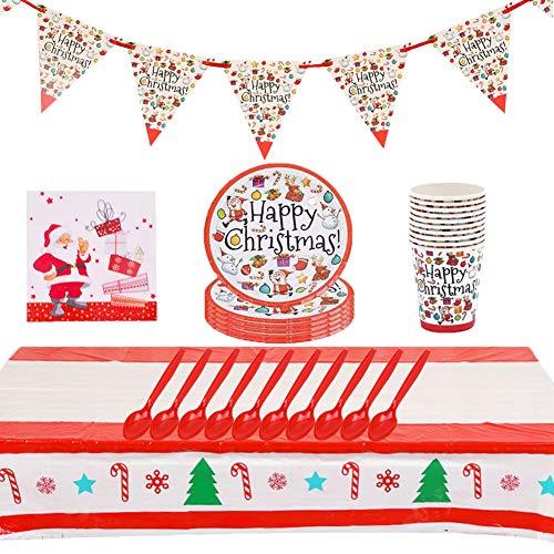 JAHEMU Vajilla de Fiesta de Navidad Decoración Incluir Plato Banners Servilleta Cuchara...