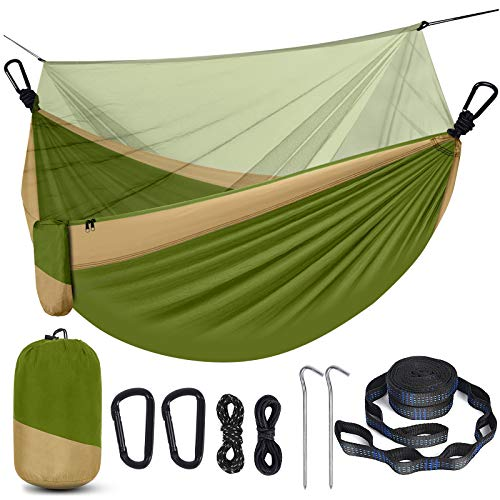 Camping Hammock with Net, Travel Portable Lightweight Hammock with Tree Straps and D-Shape Carabiners, Parachute Nylon Hammock for Outsides Backpacking Beach Backyard Patio Hiking, Green & Khaki