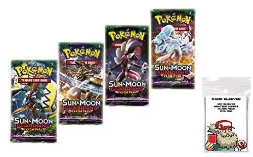 Booster original Pokemon Inglés Sun & Moon Guardians Rising 4 Booster Packs + 100 fundas para cartas de Pokémon
