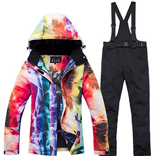 Zlw-shop Schneeanzüge Skianzug Winterbekleidung Skijacke Bunte Snowboard Jacke und Latzhose Anzug Jacke wasserdichte Regen Mantel Extreme Cold Anzug Skianzug (Color : Black, Größe : S)