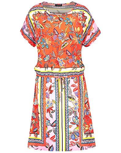 Taifun Damen Sommerkleid mit expressivem Tuchprint figurumspielend Tigerlilly Orange Gemustert 38