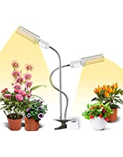 LED Grow Light for Indoor Plant, 45W Sunlike Full Spectrum Plant Light, Dual Head Gooseneck Grow Lamp with Replaceable and 360° rotatable Bulb, Timer Function, Professional for Seedling Growing Blooming Fruiting