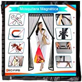 Cortina Mosquitera Puerta Exterior Magnetica 105x260cm Red Hiperfina mosquitera para Puerta Regalo Mosca Pantalla Diferentes tamaños para Ventana,Negro