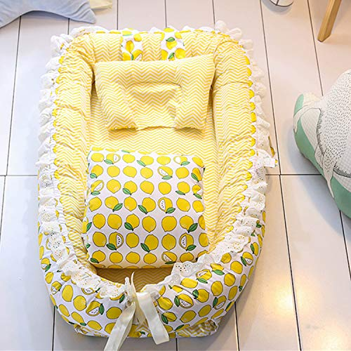 PULUSI Newborn Baby Portable Foldable Travel Bed, Infant Toddler Bionic Beds Nursery Cribs with Pillow and Quilts for 0-1 Years Kids,100% Cotton Crib Mattress,Best Baby Gift for New Mom(Yellow)