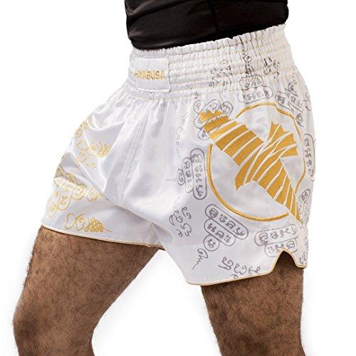 Hayabusa Falcon - Pantalones cortos para Muay Thai, Kickboxing y MMA - Blanco - Small