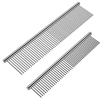 Cafhelp 2 Pack Dog Combs with Rounded Ends Stainless Steel Teeth, Cat Comb for Removing Tangles and Knots, Professional Grooming Tool for Long and Short Haired Dog, Cat and other pets, 6.3IN/7.4IN from Cafhelp