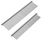 Cafhelp 2 Pack Dog Combs with Rounded Ends Stainless Steel Teeth, Cat...