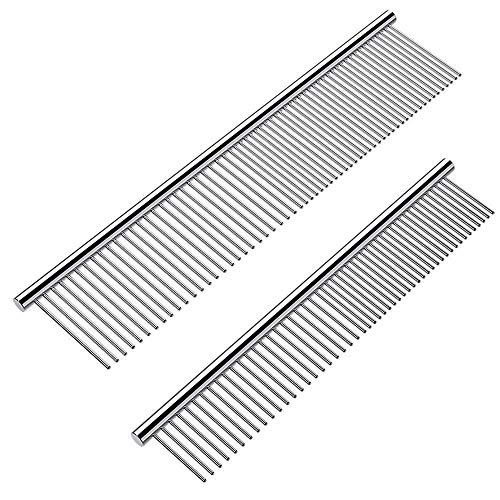 grooming combs for dogs Cafhelp 2 Pack Dog Combs with Rounded Ends Stainless Steel Teeth, Cat Comb for Removing Tangles and Knots, Professional Grooming Tool for Long and Short Haired Dog, Cat and other pets, 6.3IN/7.4IN