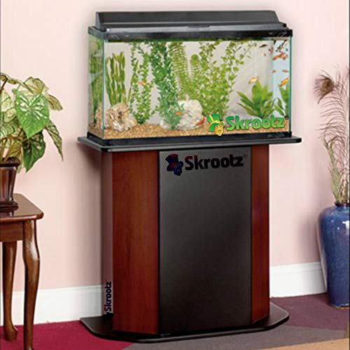 Skrootz 20 Gallon Wood Aquarium Stand Paneled for 20/29 Maximum Concealed Storage Located Behind Hinged Door