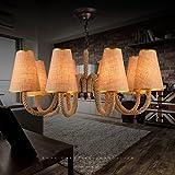 Buona lampadario Illuminazione creativa personalizzata camera da letto soggiorno sala ristorante retrò semplice lampadario di canapa copertura panno (Colore : 8 heads)