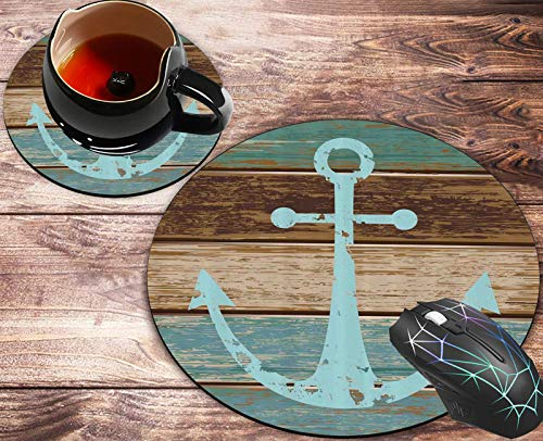 Round Mouse Pad and Coasters Set, Nautical Anchor Teal Brown Mousepad, Anti Slip Rubber Round Mousepads Desktop Notebook Mouse Mat for Working and Gaming
