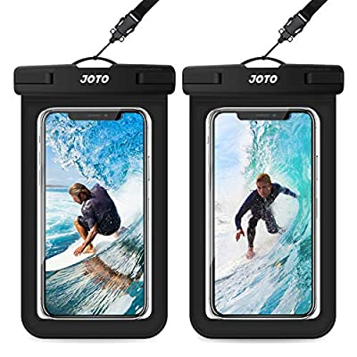 "JOTO Universal Waterproof Pouch, IPX8 Waterproof Cellphone Dry Bag Underwater Case for iPhone 11 Pro Max Xs Max XR X 8 7 6S+ SE 2020, Galaxy S20 Ultra S10 S9 S8/Note10+ 9 up to 6.9"" -2 Pack, Black"