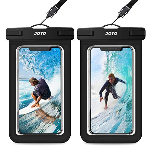 JOTO Universal Waterproof Pouch, IPX8 Waterproof Cellphone Dry Bag Underwater Case for iPhone 12 Pro Max 11 Pro Max Xs Max XR X 8 7 6S, Galaxy S20 Ultra S10 Note10 9 up to 6.9' -2 Pack, Black