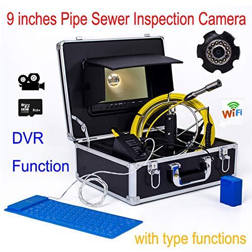 HBHYQ Gran Pantalla de Tubo de endoscopio 17 Tubo de diámetro MM Tubo de cámara Detector inspección Interna 9 Pulgadas bajo el Agua inspección cámara Impermeable (Video),20m