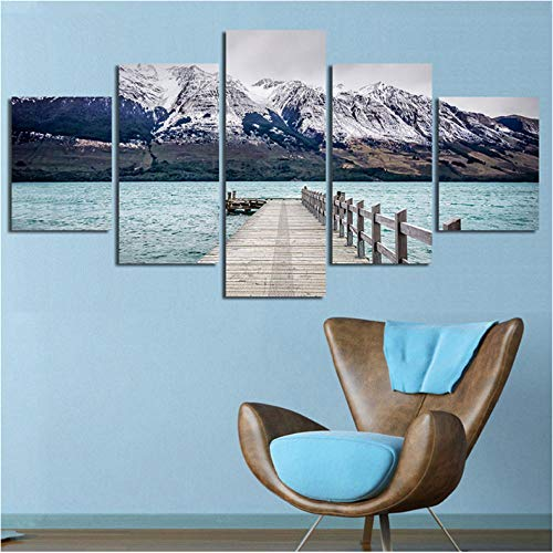 wuyii Poster für das Haus Wohnzimmer 5 Schneefräse Montagne Lago Scenario Modern Murale Bilder HD Druck Druck Druck