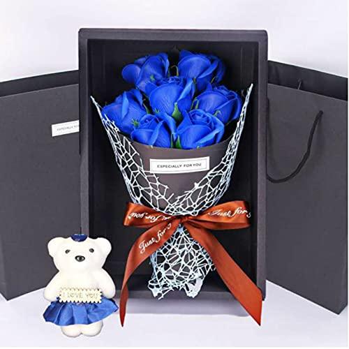 Caja de regalo de 7 rosas de jabón, ramo de oso de peluche, esposa, regalo de flores artificiales para el día de San Valentín, cumpleaños, fiesta, boda, regalo de boda, color azul