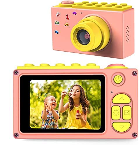 FishOaky Macchina Fotografica per Bambini, Fotocamera Digitale Portatile, Digital Camera Kids Videocamera HD 1080P / 8MP / Zoom Digitale 4X / LCD da 2 Pollici (Rosa)