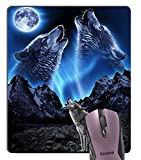 Knseva Cool Wolves Howling at The Moon Rectangle Mouse Pad, Grey Wolf Bright Moonlight Great Mountain Mouse Pads Custom Design