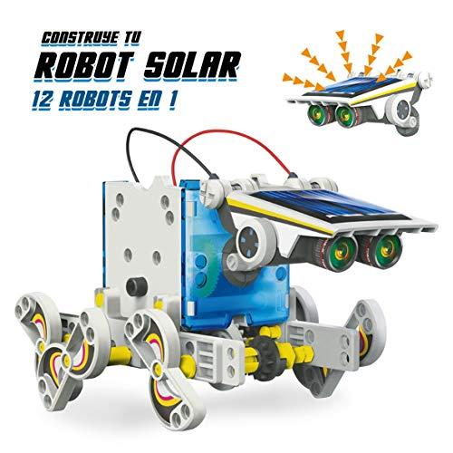 Xtrem Bots Robot Solar 12 en 1, Robot Educativo, Juguetes construcción, Robótica para niños, Juguetes solares, Robot de Juguete, Robot Infantil, construcciones para niños