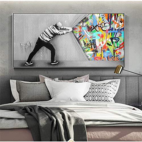 LELME Banksy Kunst hinter dem Vorhang Leinwandbilder Wandkunst Poster Drucke Graffiti Street Art Wandbilder Wohnkultur 80X160cm Rahmenlos