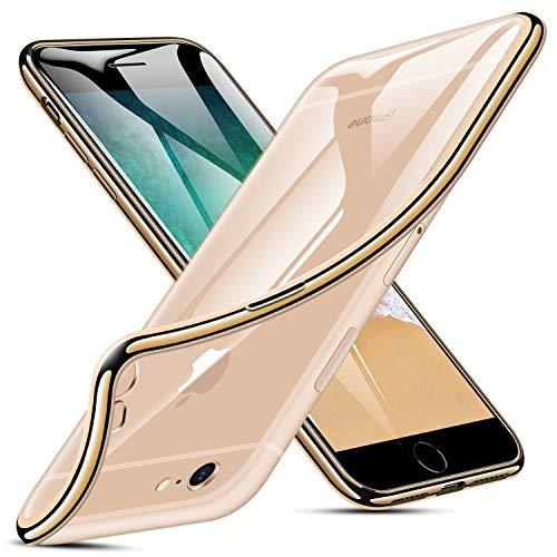 AIsoar Coque pour iPhone 6,iPhone 6S Placage Bumper Housse Transparente Gel Silicone Etui TPU [Crystal Clear] Case Souple avec Cadre de Protection Brillant Chromé pour iPhone 6,iPhone 6S (4.7) (d'or)