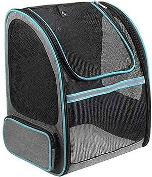 Lavuky Sac de Transport Chiens ZQ11 Sac à dos pour Chat Animaux Extensible Transparent Pliable Respirant Paniers de Transport avec Fenêtre en Maille pour Déplacement Voyage Train Voiture Avion- Bleu