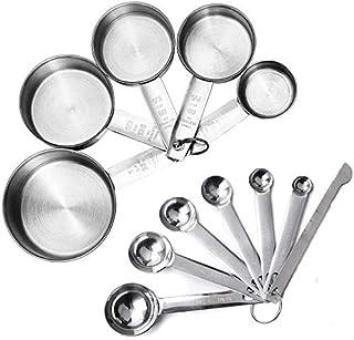 JUYILSU - Juego de tazas medidoras y cucharas medidoras con regla de medición, juego de 7 cucharas medidoras, 5 tazas de medición para hornear acero inoxidable