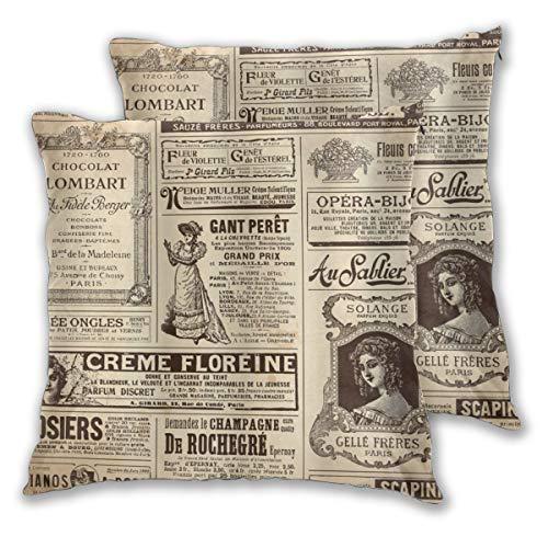 MOBEITI Juego de 2 Decorativo Funda de Cojín Paris Vintage Old Historic Newspaper Journal Diseño de Arte con Letras de Papel francés Funda de Almohada Cuadrado para Sofá Cama Decoración para Hogar