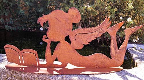 Rostalgie Edelrost Elfe Violett liegend mit Buch 40x18cm, inkl. Herz 8x6cm Gartendeko Geschenk