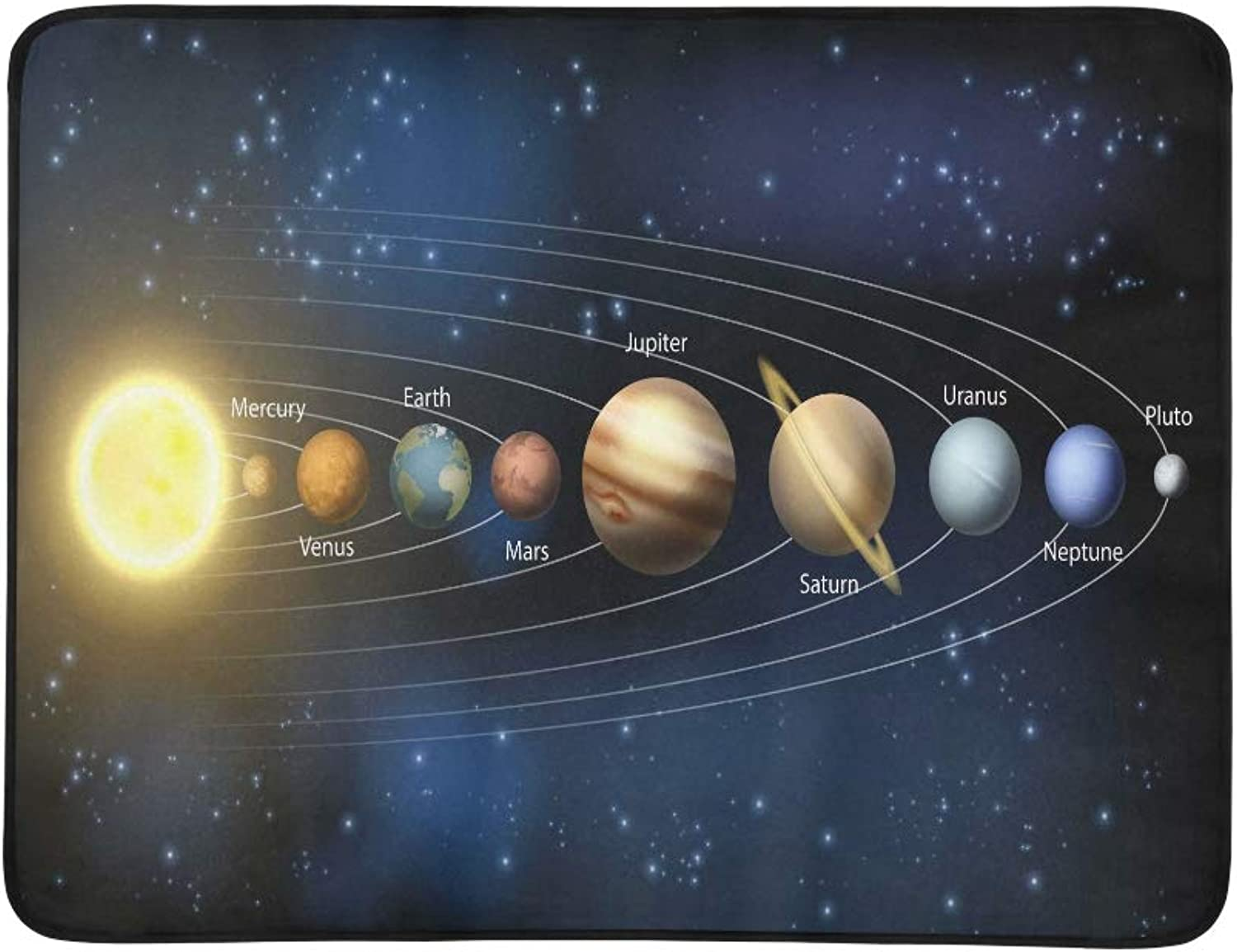 An Illustration of The Planets of Our Solar System Pattern Portable and Foldable Blanket Mat 60x78 Inch Handy Mat for Camping Picnic Beach Indoor Outdoor Travel