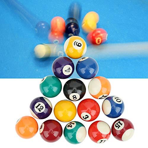 Keenso - Juego de Bolas de Billar para niños de Resina de 16 Piezas y 38 mm, Juego de Bolas de Billar de Mini Billar ecológico para niños Juego de Bolas de Billar pequeñas de Resina