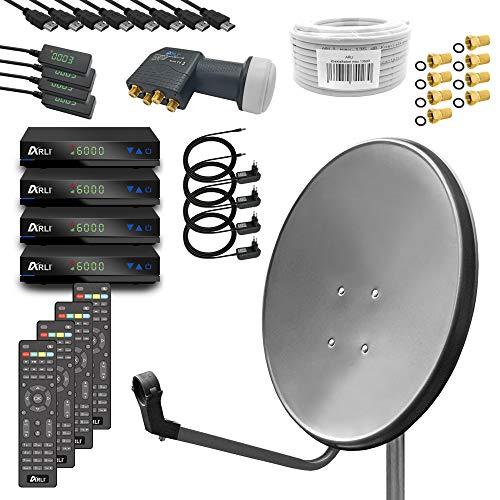 Digital Sat Anlage 80 cm Spiegel inkl. ARLI AH1 Full HD Receiver + Quad LNB + 100 m Koax Kabel + 8 F - Stecker vergoldet 4 Teilnehmer Set Antenne grau anthrazit satellitenschüssel digital komplett