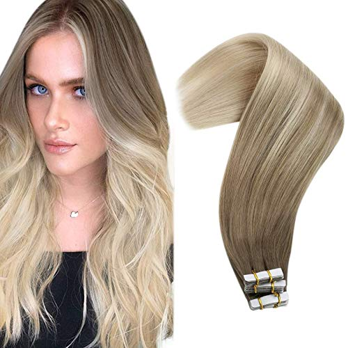 VeSunny Human Hair Blonde Ombre Extensions Tape in 20inch Light Brown Ombre Platinum Blonde Tape in Extensions Human Hair Double Sided Remy Hair Ombre Blonde Extensions 20pcs 50g