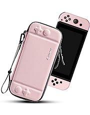 tomtoc Etui Slim do Nintendo Switch, twarda obudowa torba do przenoszenia kompatybilna z 10 gierami i konsolą Switch, etui do przechowywania z oryginalnym patentem i wojskową ochroną, kolor różowy