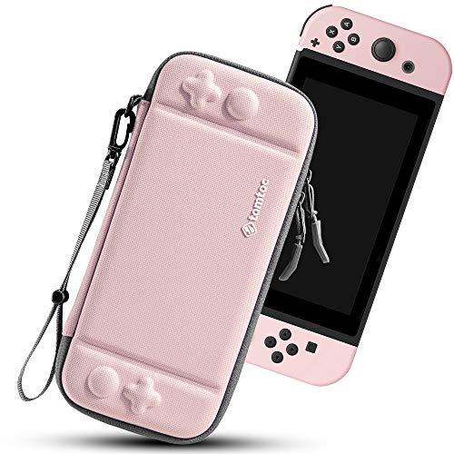 tomtoc Slim Case für Nintendo Switch, Hartschla Schutzhülle Aufbewahrungstasche Tragetasche, kompatibel mit Switch Konsole und 10 Spielkarten, Rosa
