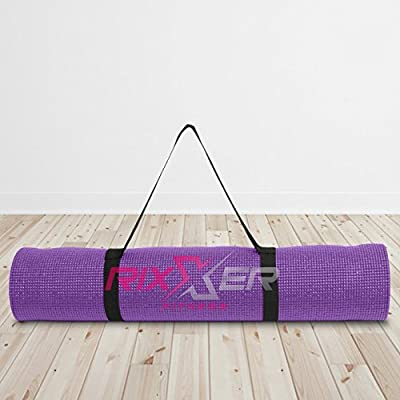 "Rixxer 1/4 Inch Thick Non-Slip Eco-Friendly Yoga/Exercise Mat with Carrying Strap - 72"" x 24"""