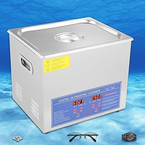 Limpiador ultrasónico de 10 l con temporizador y calentador digitales, limpiador de joyas, máquina limpiadora ultrasónica para el hogar para gafas, relojes, enchufe de la UE de 220 V