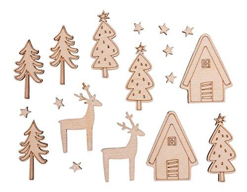 Rayher 46309000 Holz-Streuteile Winterhome, für winterliche Dekorationen, Set 18-teilig, FSC 100 Prozent